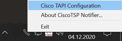 CiscoTSP Notifier-Auswahl