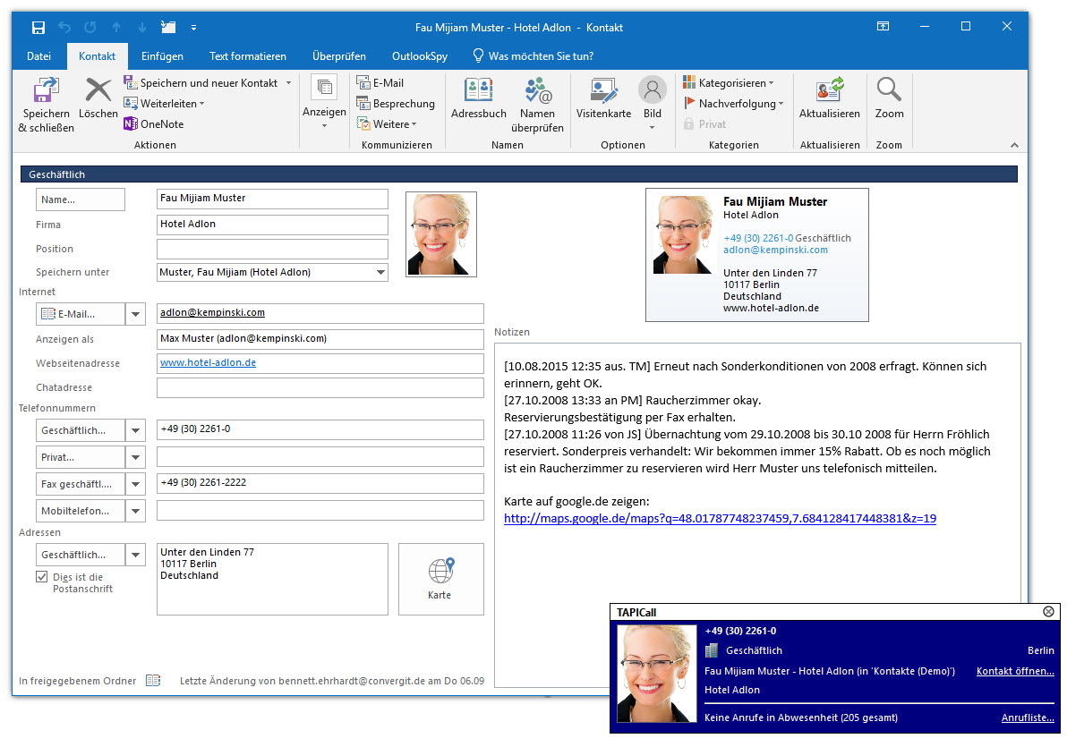 Kijk wie er belt in Outlook